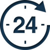 24 hour clock icon in blue